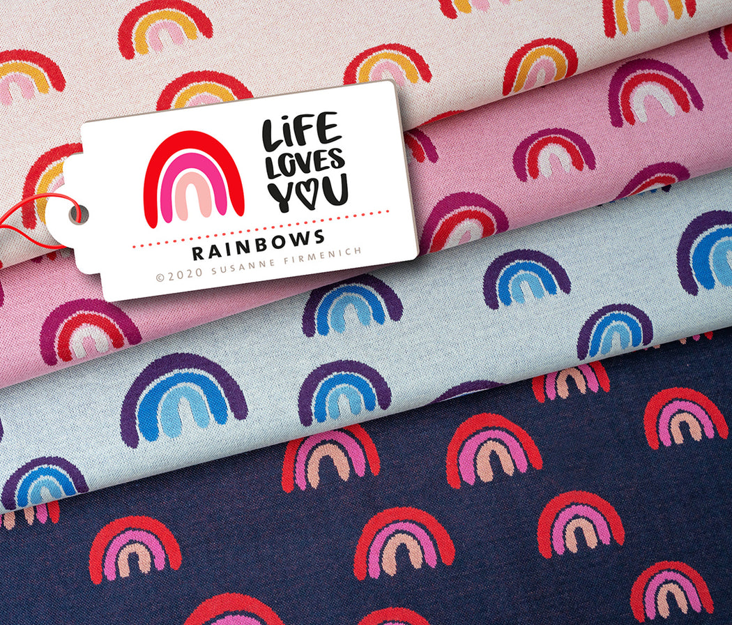 Life Loves You Rainbows Jacquard Knit, Pink