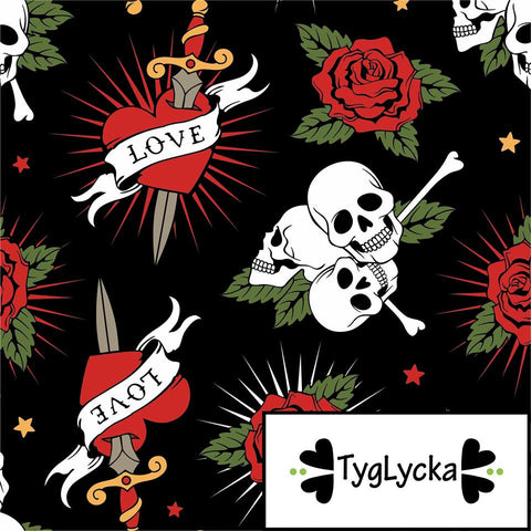Hearts & Skulls Tattoo GOTS Jersey by Tyglycka