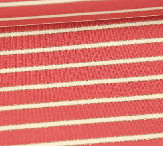 Lurex Stripes Stretch French Terry, Blush-Cream-Gold