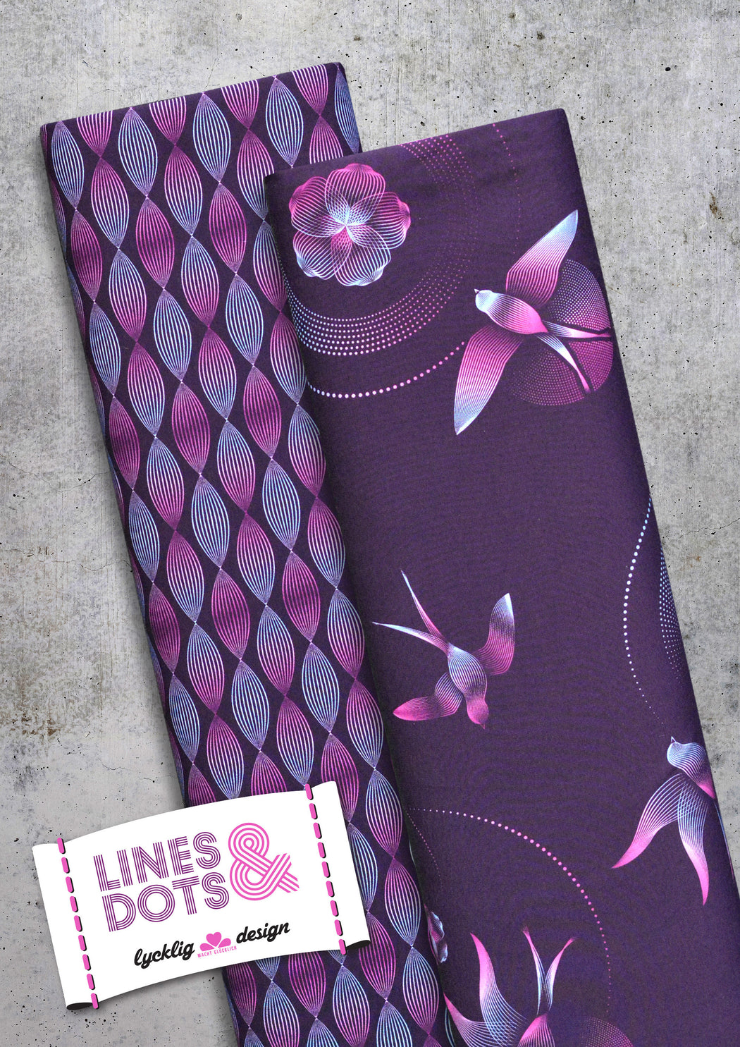 Lines & Dots Waves Stretch French Terry, Violet