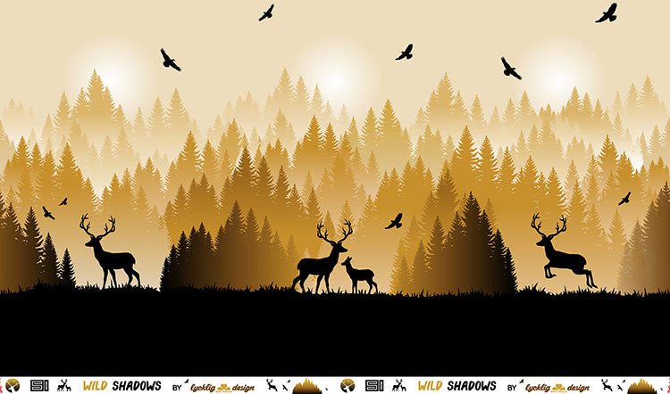Wild Shadows Deer Stretch French Terry, Ochre by Swafing