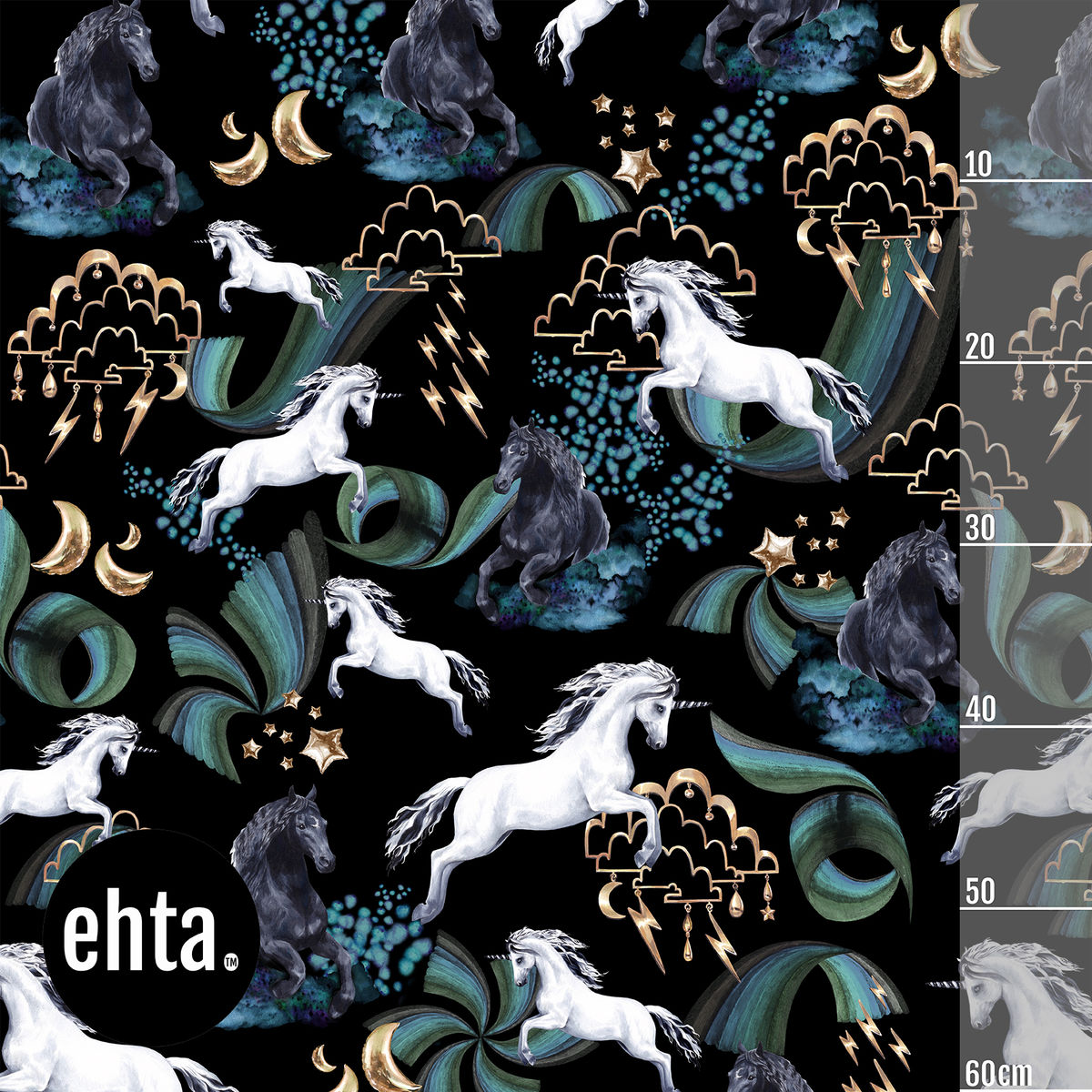 Magic Horses Organic Jersey, Black-Teal by Ehta
