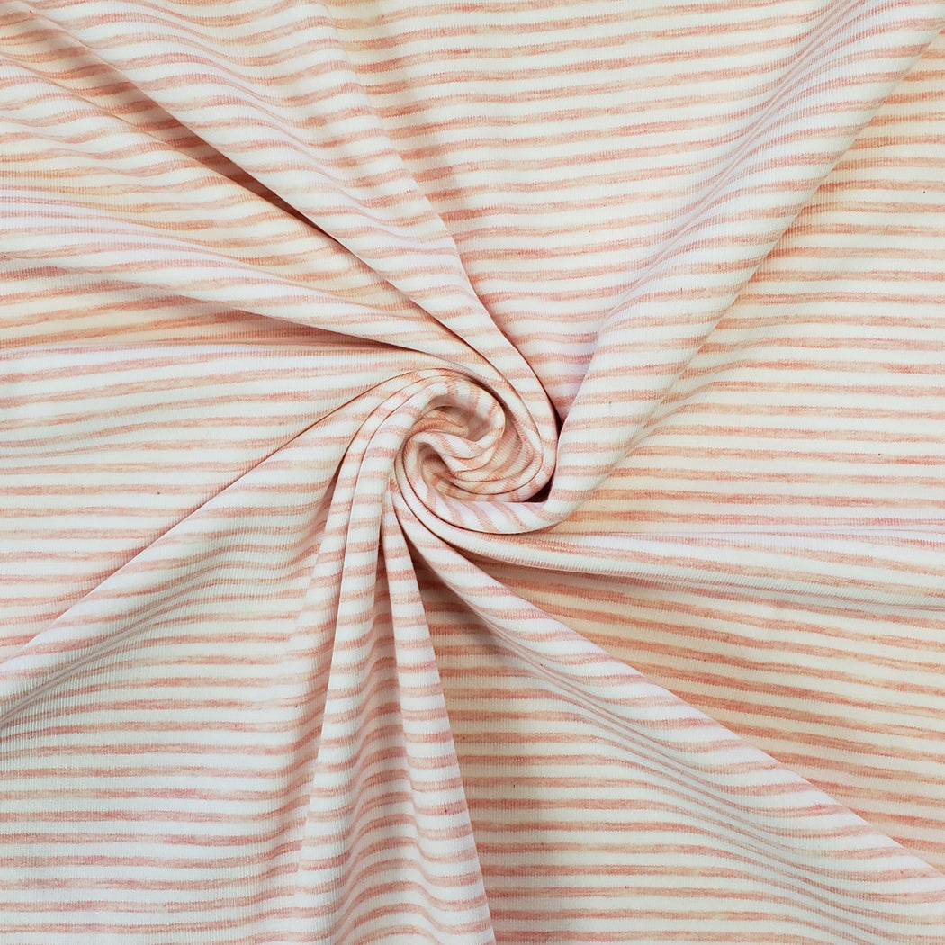2.6 mm Melange Mini Stripes Jersey, Pink & White