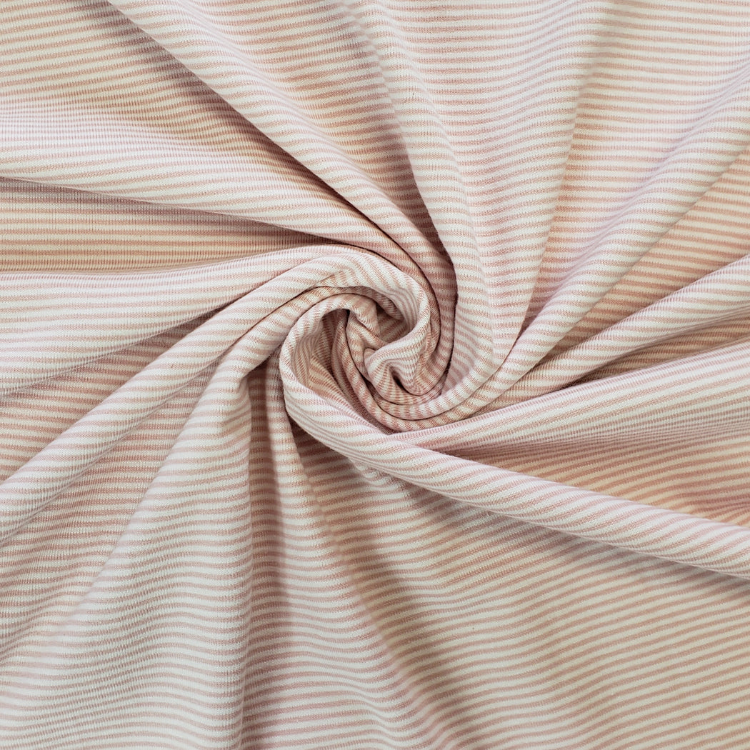 1.2 mm Micro Stripes Jersey, Light Pink & White