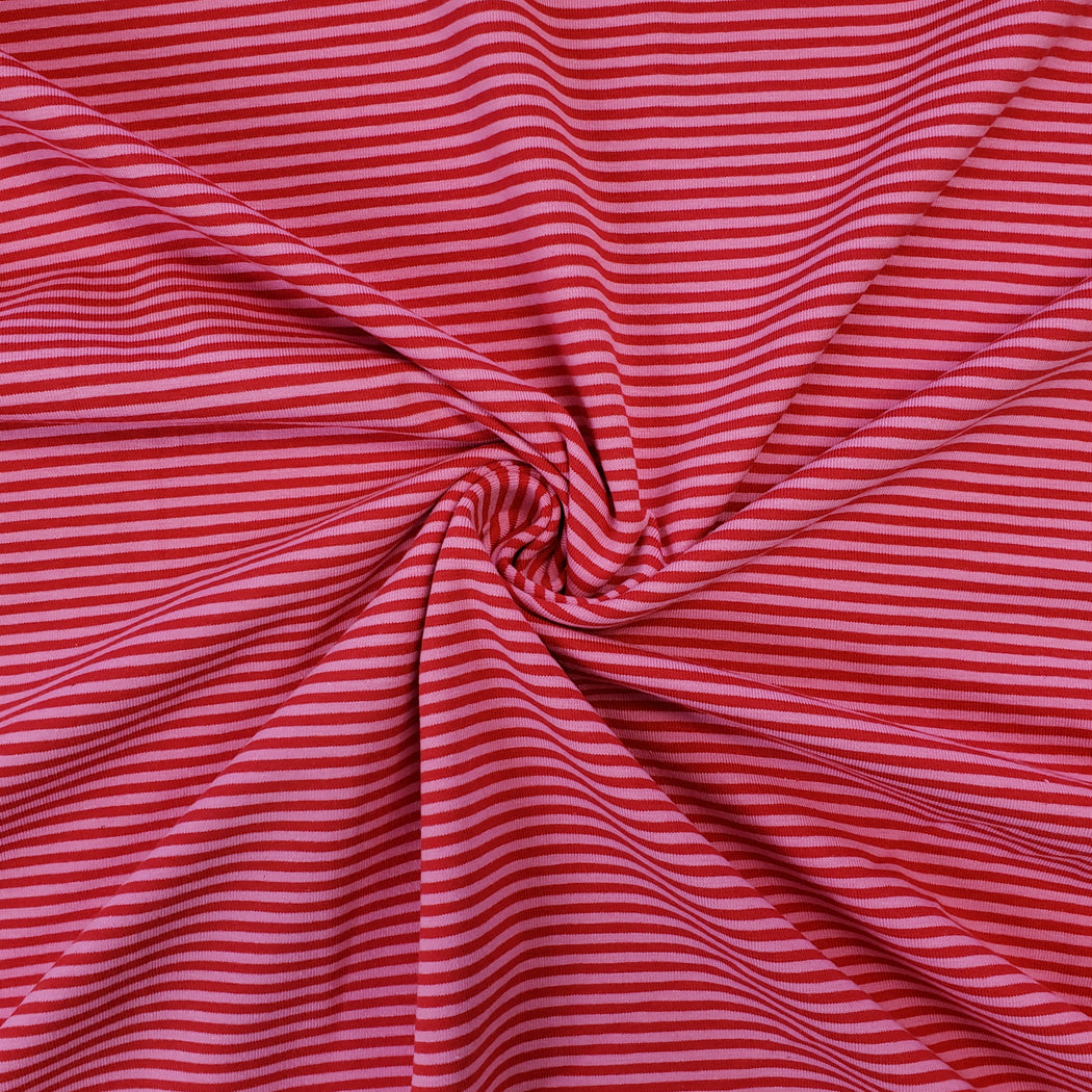 2.6 mm Mini Stripes Jersey, Red & Pink