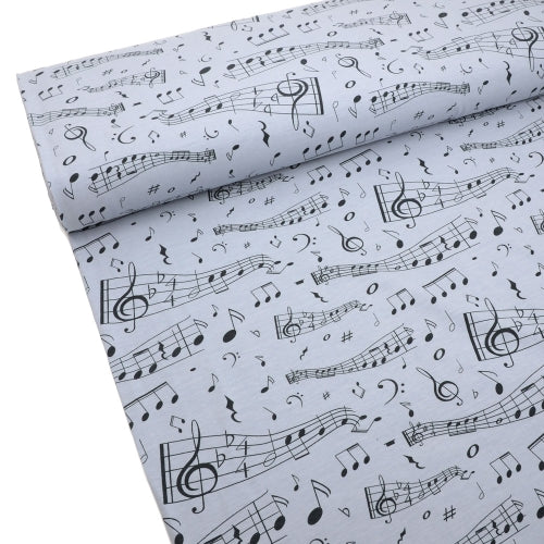 Music Notes Organic Jersey, Gray by Tygdrommar