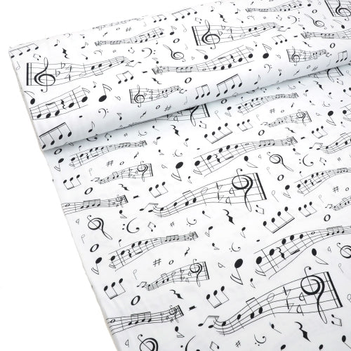 Music Notes Organic Jersey, White by Tygdrommar
