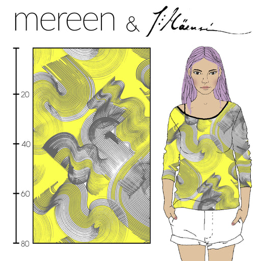 Ocean Floor Organic Jersey, Lemon by Kapynen-Mereen