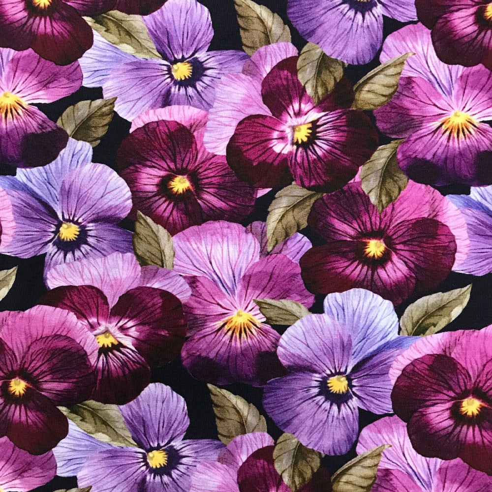 Pansy Organic Jersey, Berry-Black by Ernst Textil