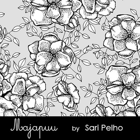 Phlox Stretch French Terry, Gray-White by Majapuu