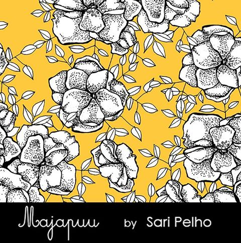 Phlox Stretch French Terry, Mango by Majapuu