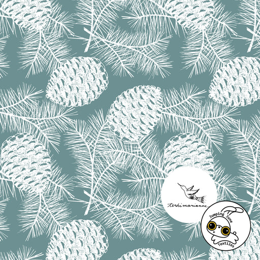 Pinecones Organic Stretch French Terry, Frosted