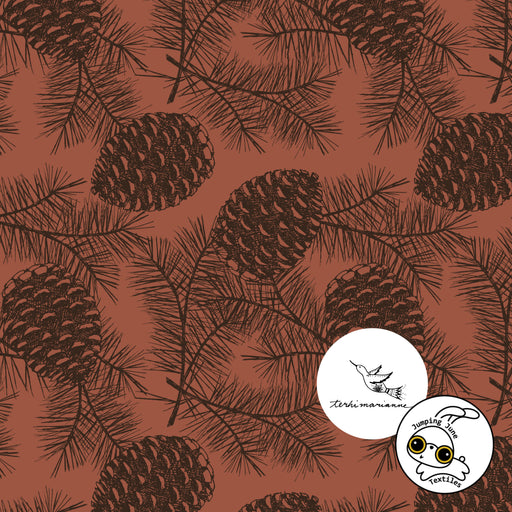 Pinecones Organic Stretch French Terry, Red Clay