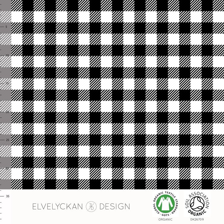Plaid Mini Organic Jersey, Black & White by Elvelyckan Design