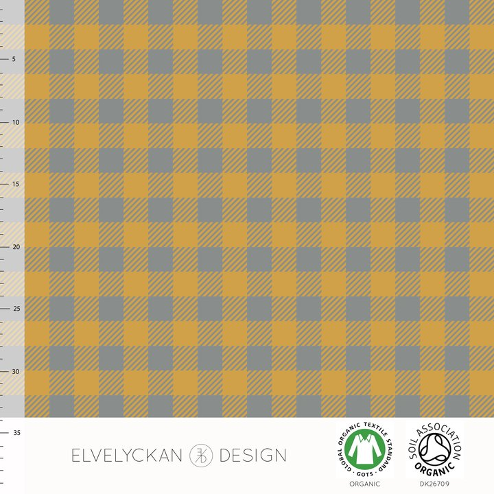 Plaid Mini Organic Jersey, Gold & Gray by Elvelyckan Design