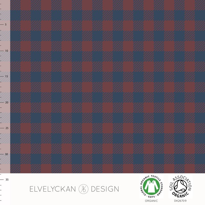 Plaid Mini Organic Jersey, Wine & Dark Blue by Elvelyckan Design