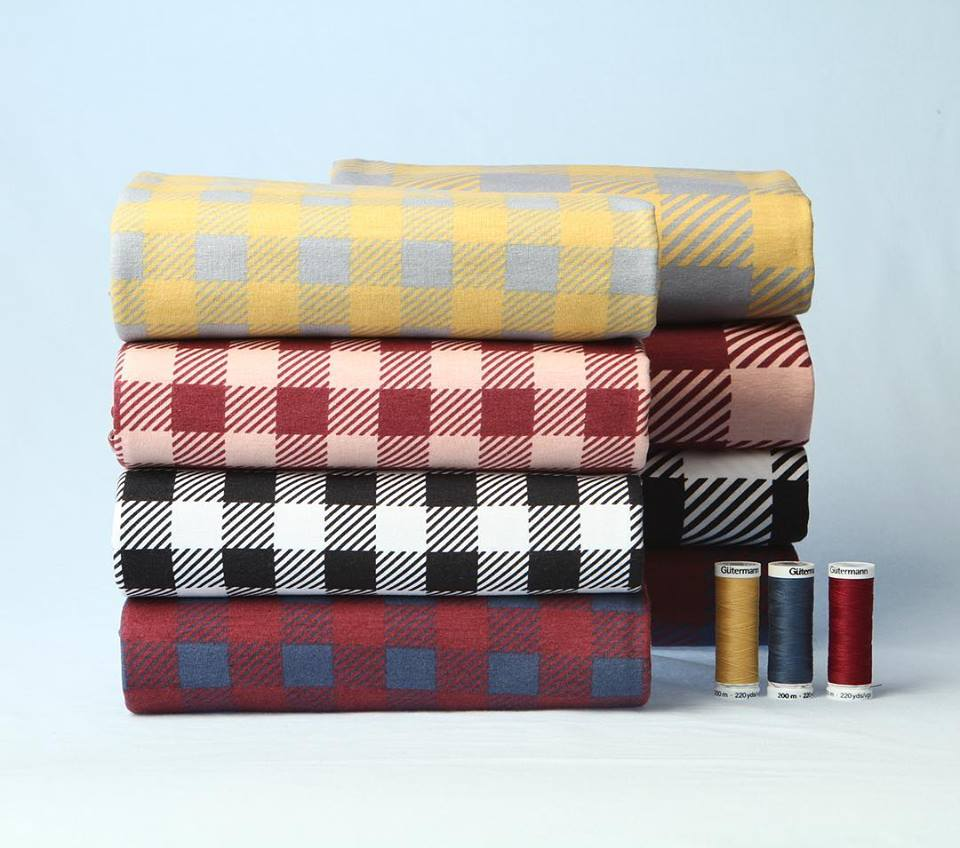 Plaid Organic Jersey, Wine & Dusty Pink by Elvelyckan Design