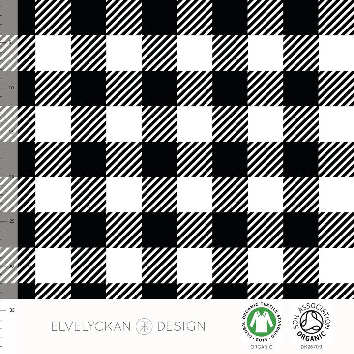 Plaid Organic Jersey, Black & White by Elvelyckan Design
