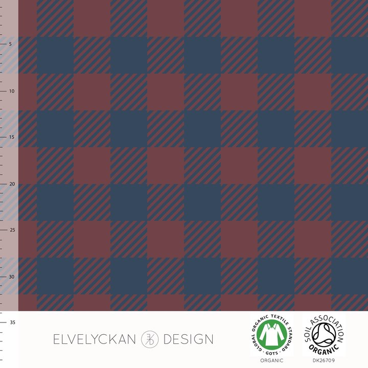 Plaid Organic Jersey, Wine & Dark Blue by Elvelyckan Design