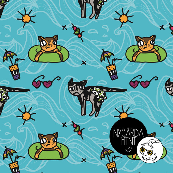 Pool Party Cats Organic Jersey by Jumping June Textiles