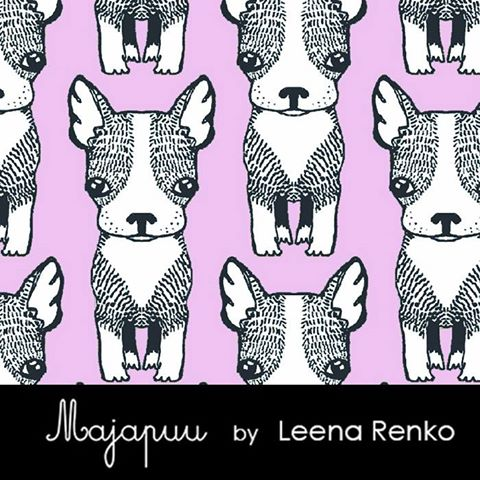Dogs Organic Stretch French Terry, Lavender by Majapuu