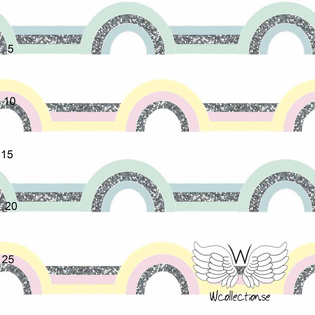 Glittery Rainbows Pastel Organic Jersey by Wcollection
