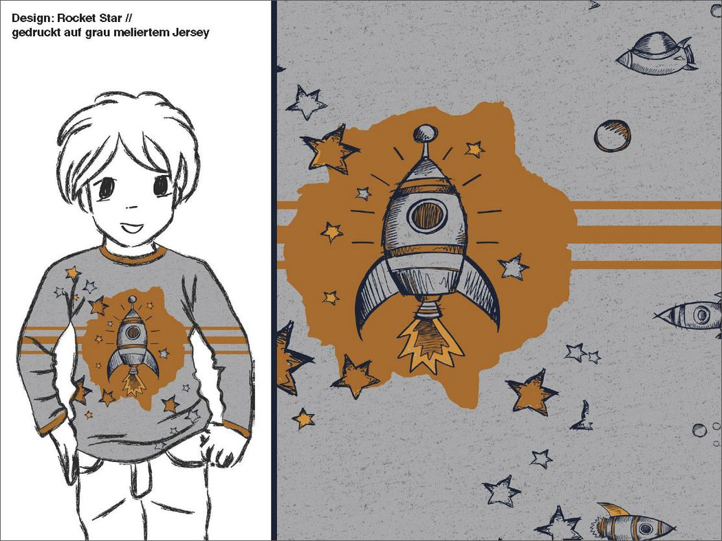 Rocket Star Organic Jersey RAPPORT, Gray by Katschinka