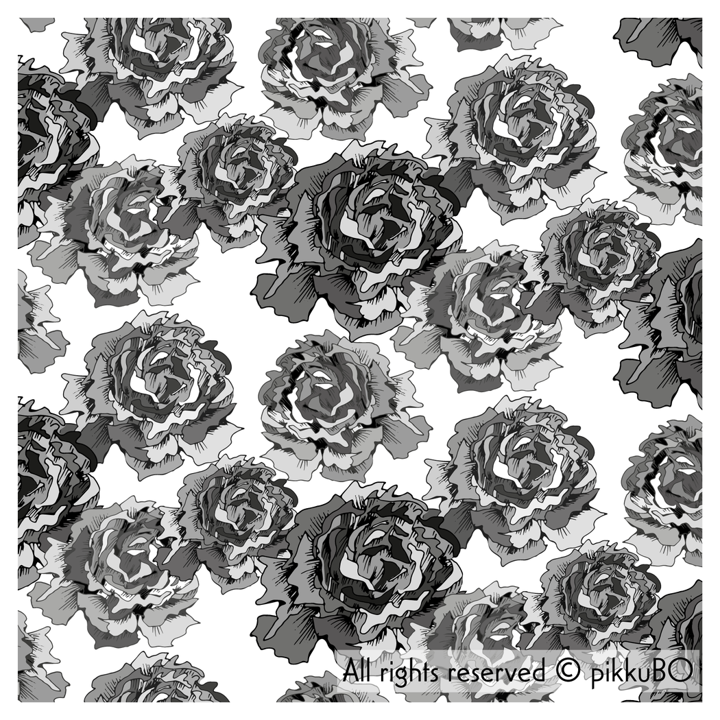 Roses Stretch French Terry, Gray on White by Selia