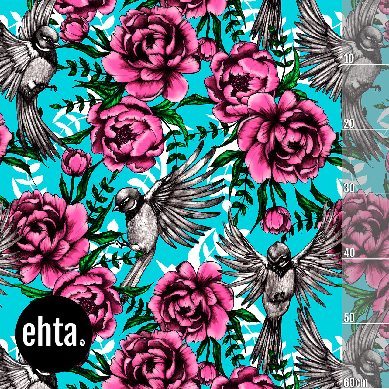 Serenity Organic Jersey, Pink-Turquoise by Ehta