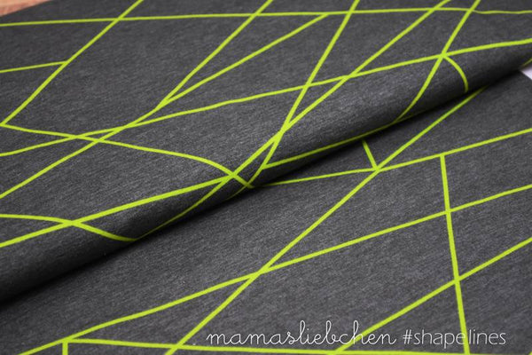 Shapelines Jersey, Charcoal & Neon Green by mamasliebchen