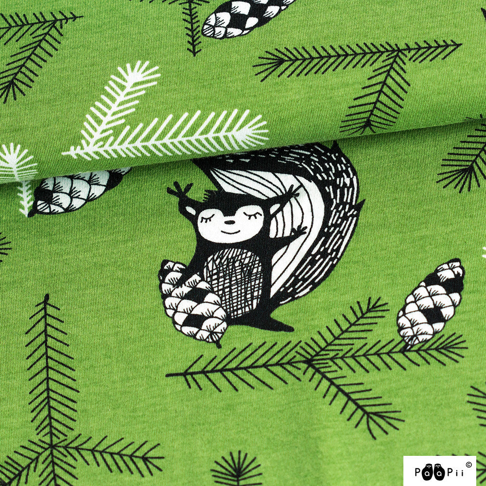 Squirrel Organic Jersey, Forest by Paapii Design