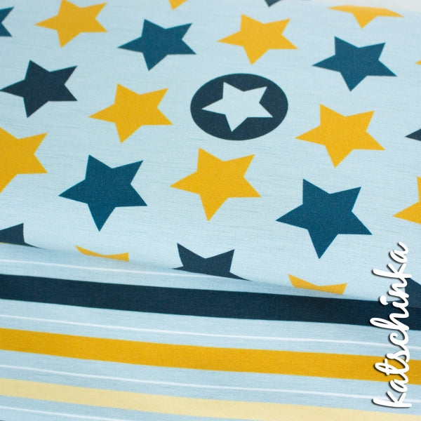 Stars & Stripes Organic Jersey, Blue-Mustard by Katschinka