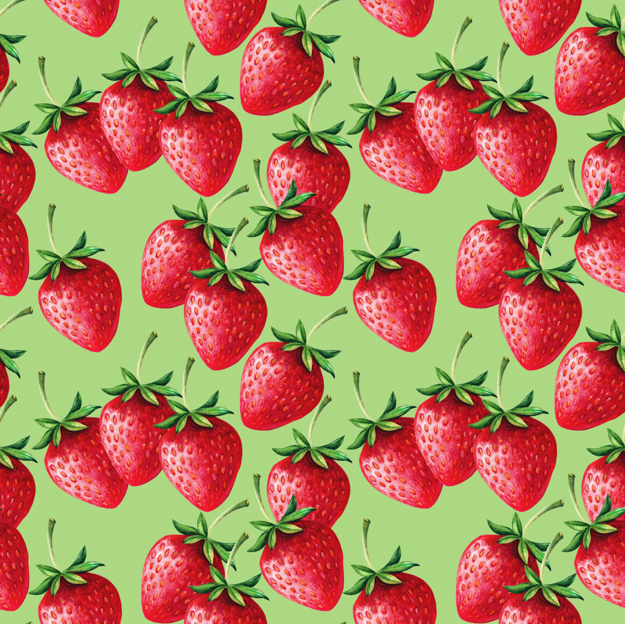 Strawberries Organic Jersey, Green by Ernst Textil