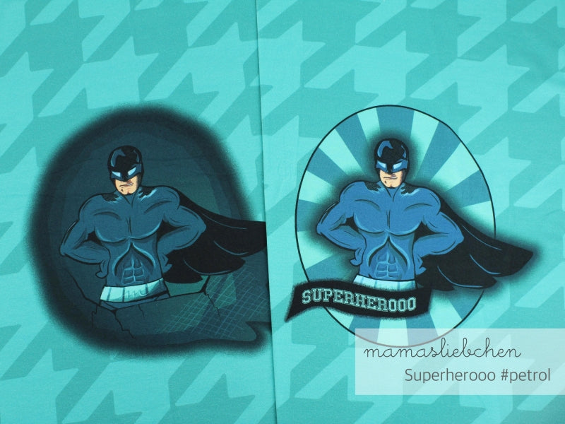 Superhero Stretch French Terry RAPPORT, Petrol by mamasliebchen
