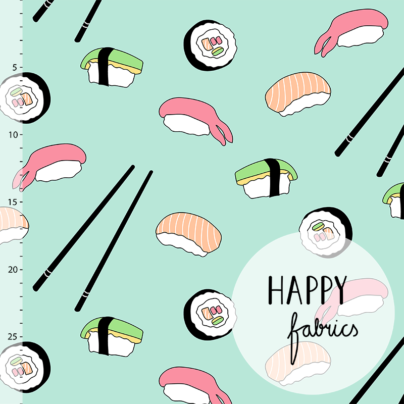Sushi Organic Jersey, Mint by Happy Fabrics