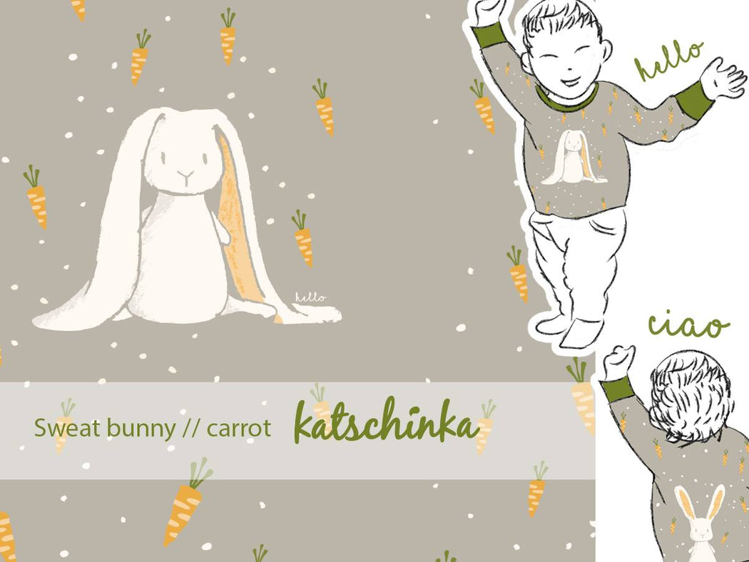 Sweet Bunny Carrot Organic Stretch French Terry RAPPORT by Katschinka