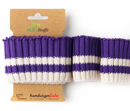 Cuff Me Cozy Stripes, Col. 01 Purple-Cream, by Hamburger Liebe-Albstoffe