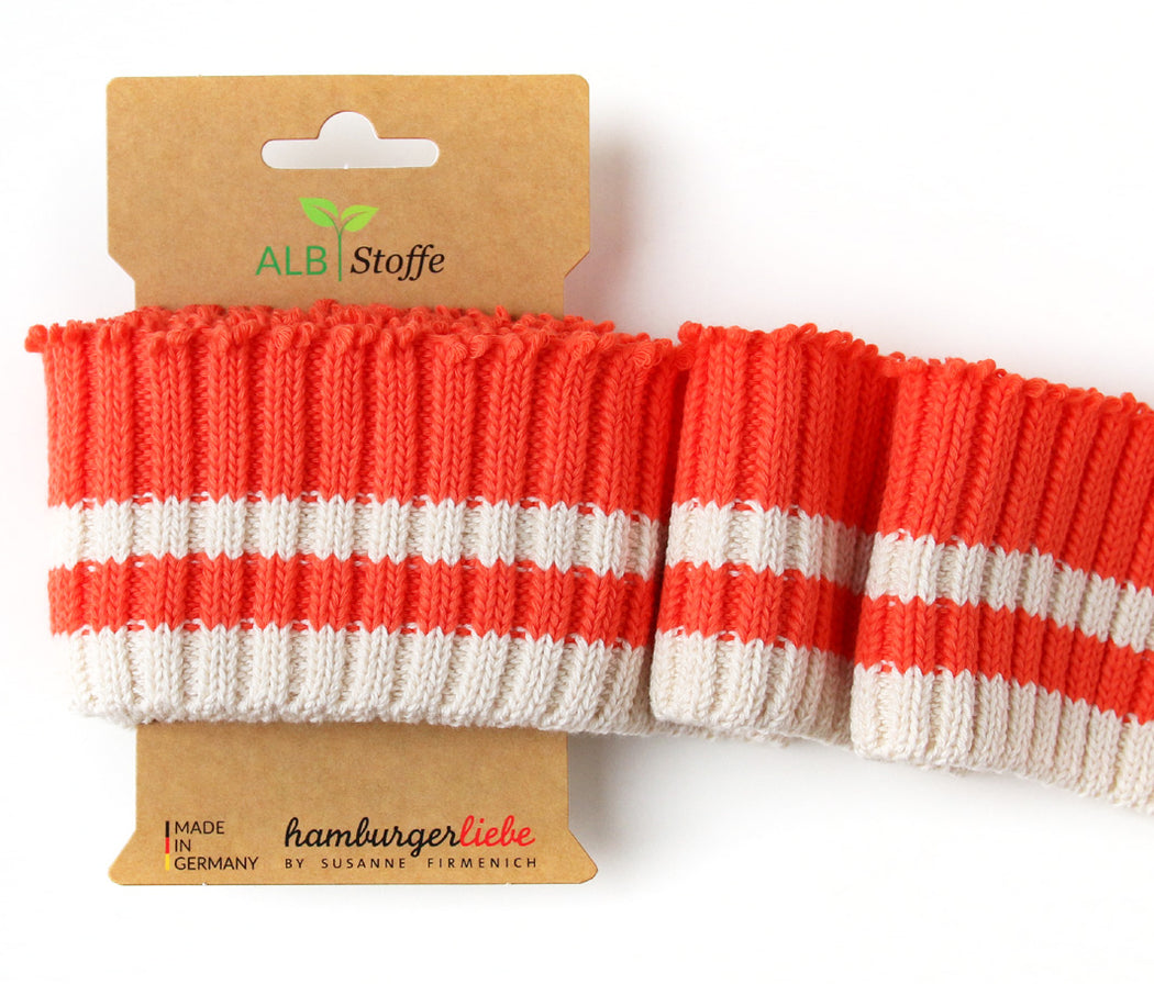 Cuff Me Cozy Stripes, Col. 02 Orange-Cream, by Hamburger Liebe-Albstoffe