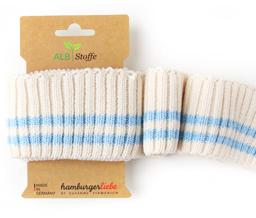 Cuff Me Cozy Stripes, Col. 03 Cream-Light Blue, by Hamburger Liebe-Albstoffe