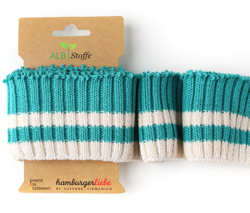 Cuff Me Cozy Stripes, Col. 04 Teal-Cream, by Hamburger Liebe-Albstoffe