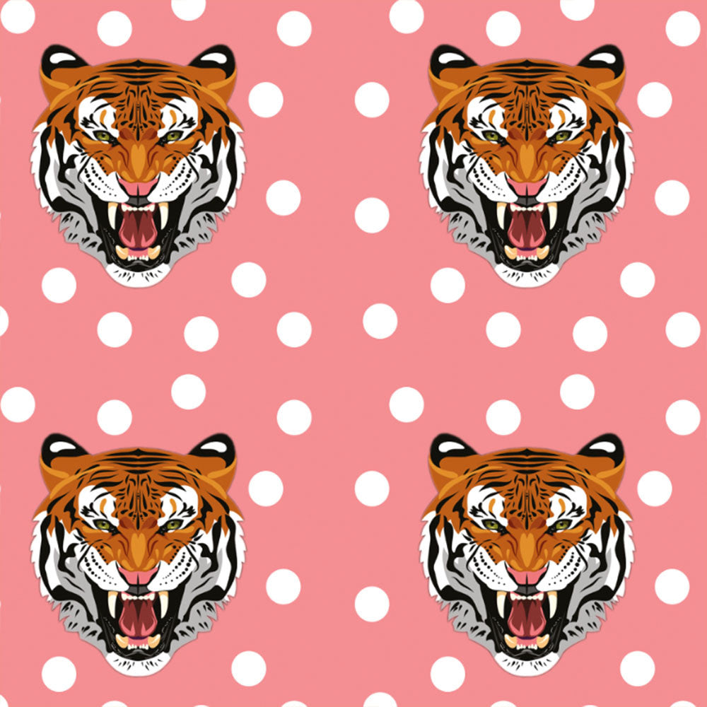 Tiger Heads Organic Jersey, Salmon by Ernst Textil