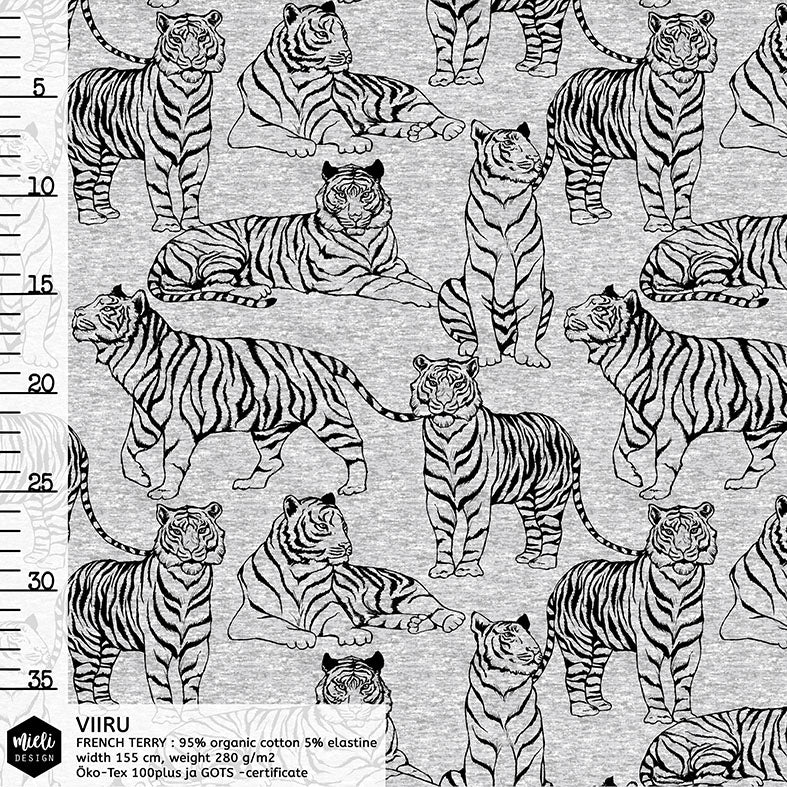 Tigers Organic Stretch French Terry, Melange Gray