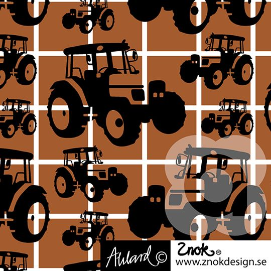 Tractors Organic Jersey, Brown by Znok Design