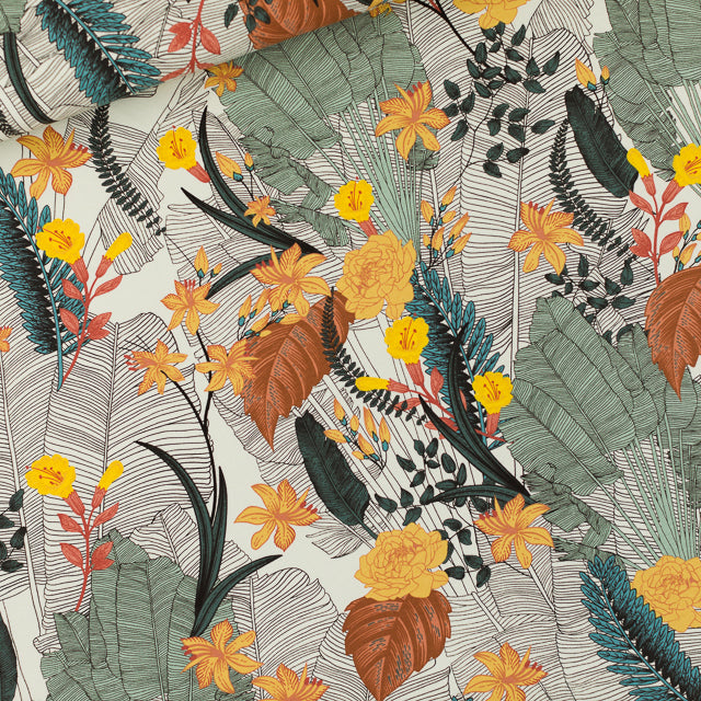 Tropic Flowers Stretch French Terry, Chalk Blue