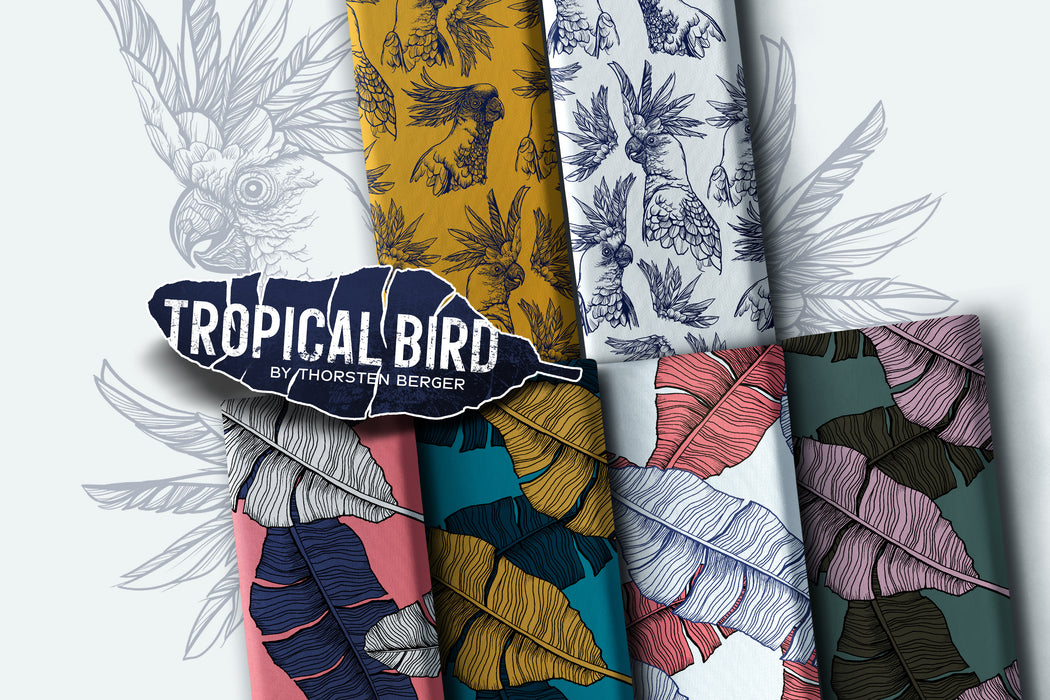 Tropical Bird Feathers Woven Viscose, White-Pink