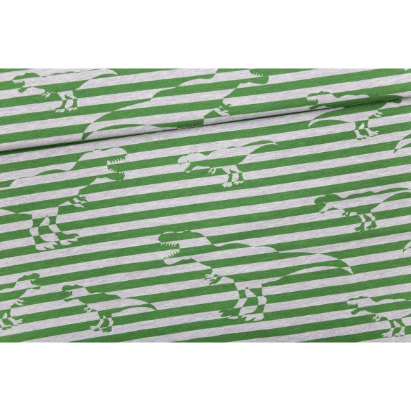 Tyrannosaurus Stripes Stretch French Terry, Green