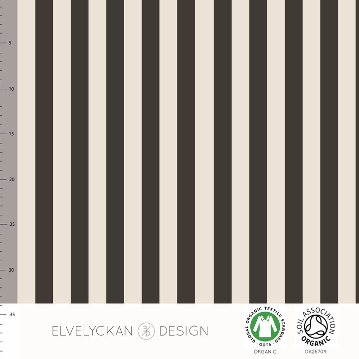 Vertical Stripes Organic Jersey, Mocha by Elvelyckan Design