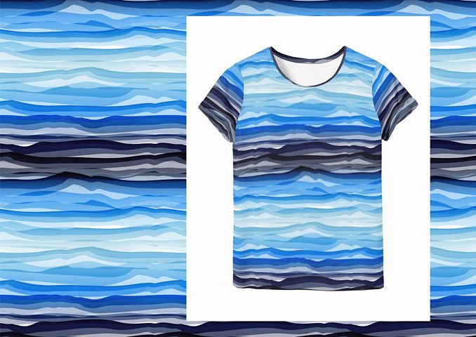 Wavy Stripes Jersey, Blue Tonal by Swafing