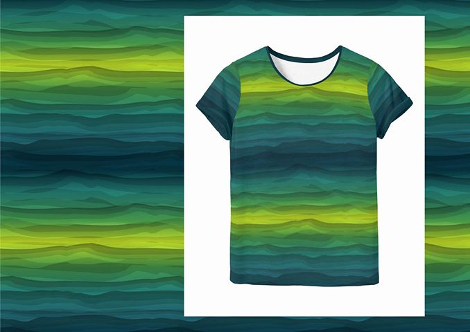 Wavy Stripes Jersey, Green Tonal by Swafing