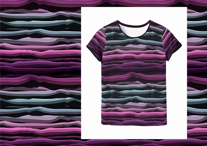 Wavy Stripes Jersey, Magenta-Black by Swafing